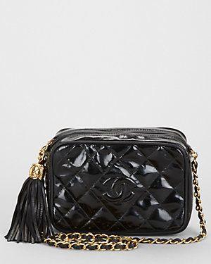 Chanel Black Patent Leather Tassel Shoulder Bag