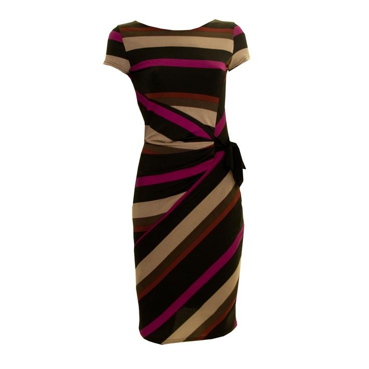 Zapara Purple Beige & Black Stripe Dress