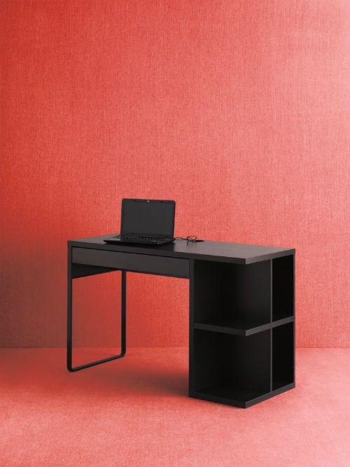 Micke desk with integrated storage black brown Desk with shelves on side