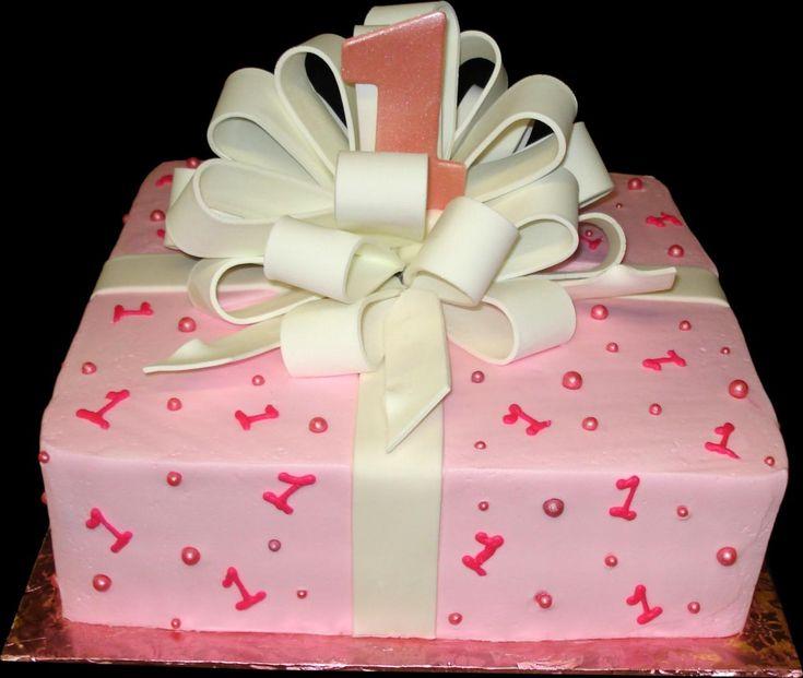 Babys 1st Present Birthday cake,  Birthday Ideas  Pinterest