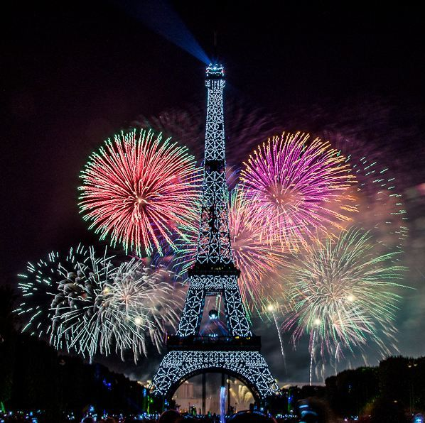 bastille day fireworks at the eiffel tower