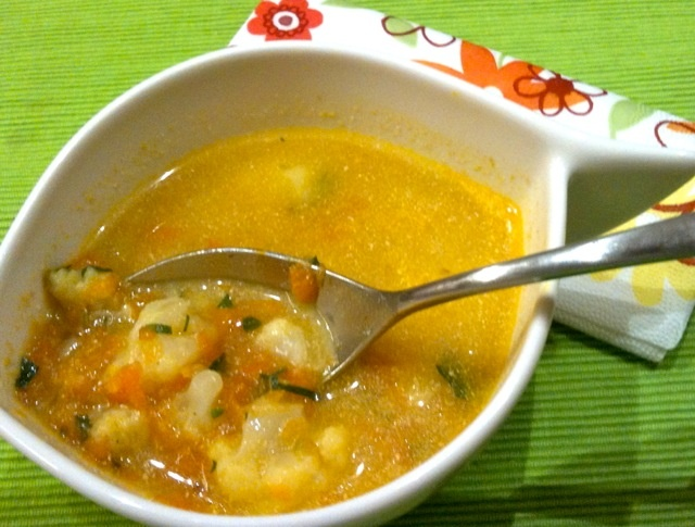 ay's lunch: carrots and cauliflower soup spiced with fresh parsley ...