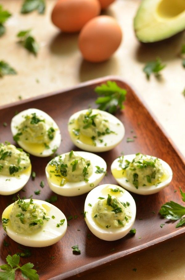 Avocado Herb Deviled Eggs with Greek Yogurt