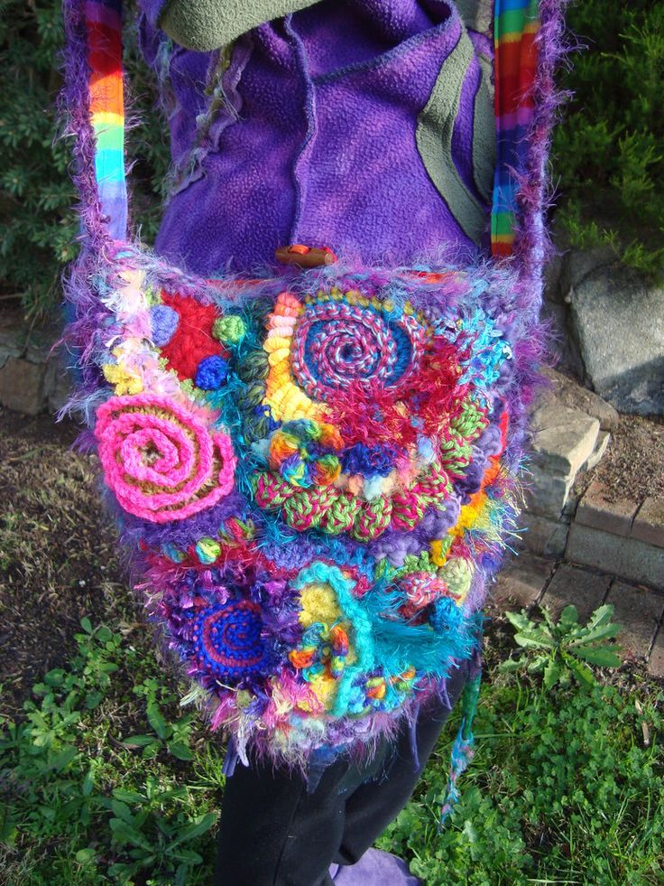 Crochet Rainbow Bag Knitting & Crocheting Fun! Pinterest