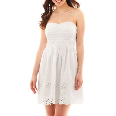 Strapless Eyelet Dress - jcpenney