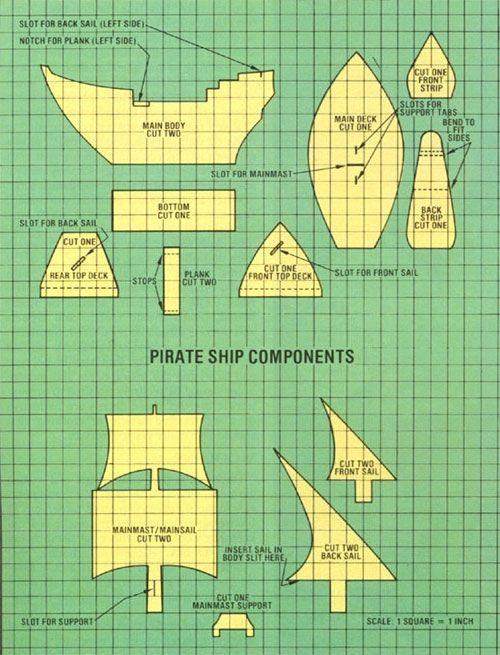Как сделать корабль из картона схемы