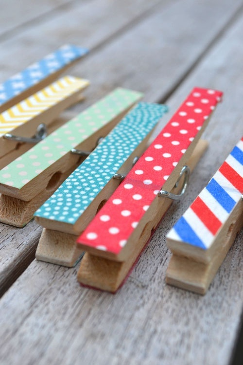 Washi Tape Clothespins - put magnets on the back for fridge magnets :)