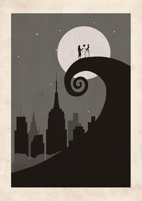 The Nightmare Before Christmas new york skyline print // Jack Skellin ...