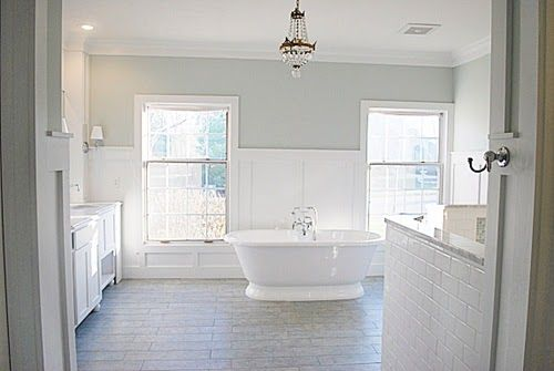 light airy master bathroom paint color is sea salt by sherwin williams