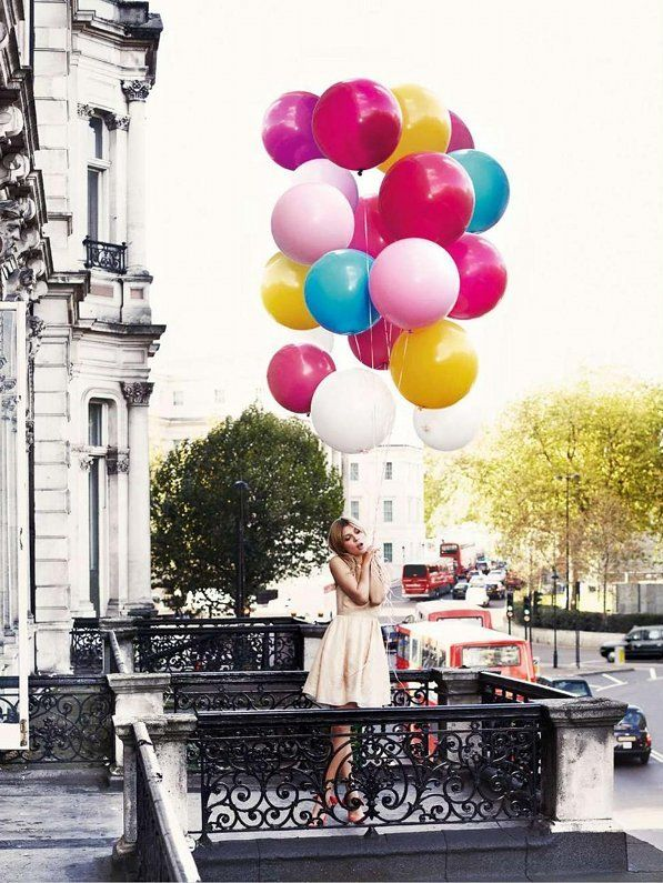 Photoshoot with balloons - Clémence Poésy (by david oldham)