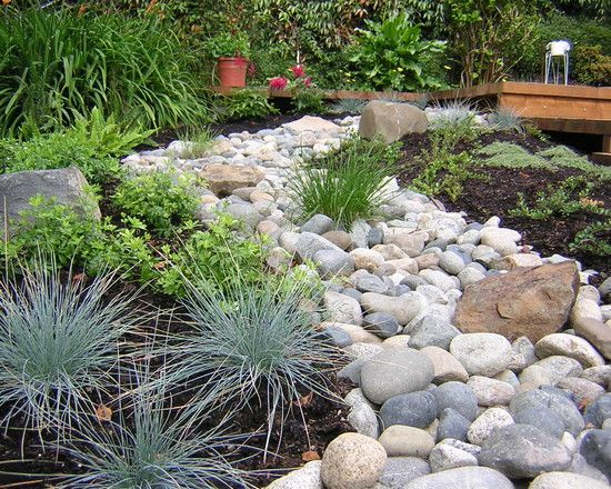 river rock garden border outdoor ideas pinterest