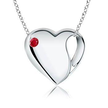 Ruby Designer Heart Pendant in Sterling Silver