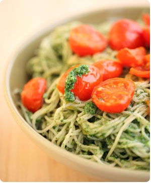 Jovial Brown Rice Capellini Spinach Pesto and Roasted Tomatoes ...