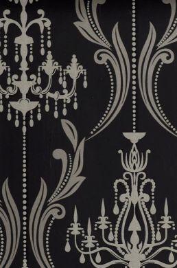 Chandelier Silver Glitter Wallpaper