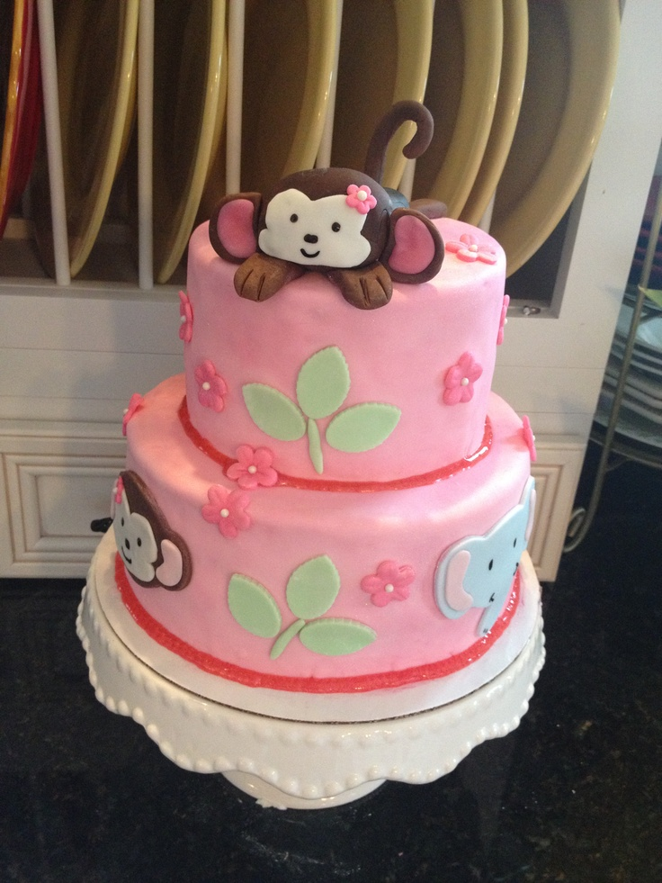 Baby monkey baby shower cake.