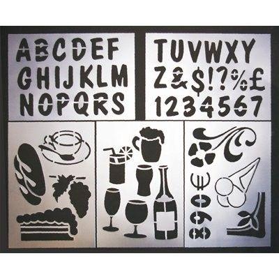 Chalkboard stencils window display ideas pinterest for Chalkboard stencils printable