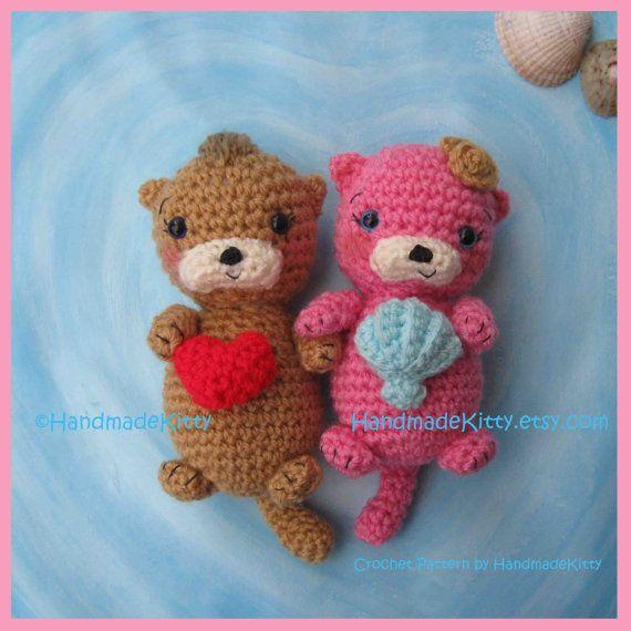 Free Amigurumi Otter Pattern : Otter Couple Floating in Love Amigurumi PDF Crochet ...