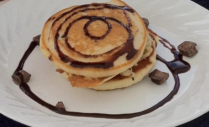 Chocolate chip, olive oil and sea salt pancakes