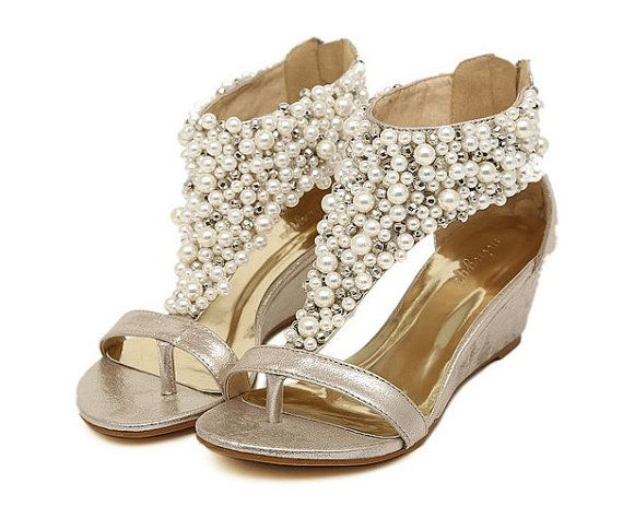 Beaded sandalswedding shoesbridal by BubbleJewelry4You on Etsy, $59.00