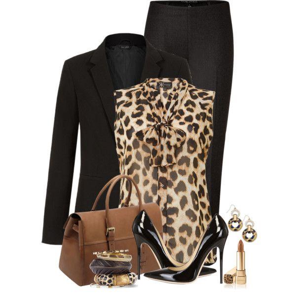 black blazer, black pencil skirt, leopard blouse