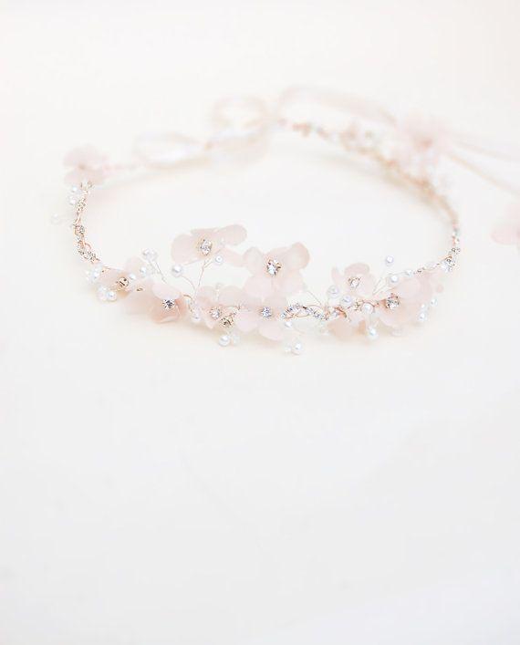 Bridal Flower Halo Silk Wedding Headband Crystal Pearls Rhinesto