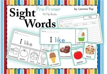 (40  Flip books Primer  sight printable Sight Words  Books Pre Booklets) basic word