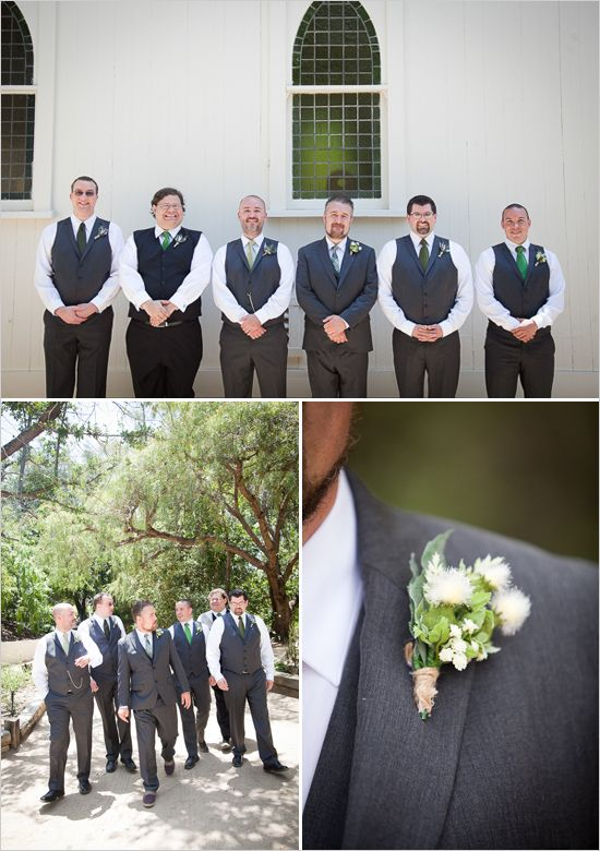 gray and green groomsman with rustic boutonniere