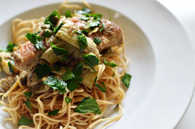 Chicken with Artichokes and angel Hair (would be good with Coeur de ...