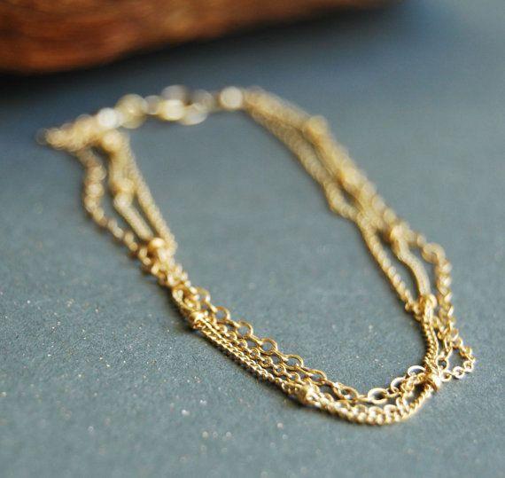 bracelet - triple layered delicate gold bracelet, gold chain bracelet ...