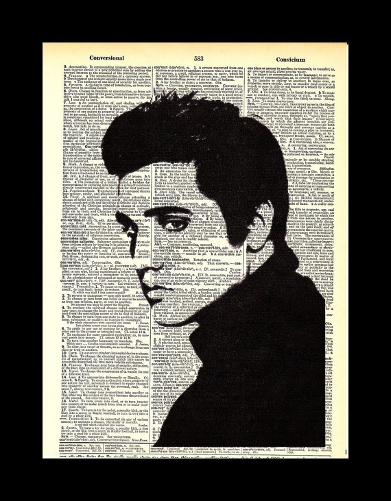 Elvis Presley dictionary print upcycled art 8x11 by badcandy, $10.00