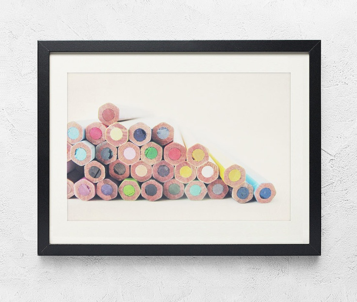 Rainbow photography - Draw me a Rainbow - Lovely colored pencils colour nursery decor bright drawing creation Fine art photography  8x12. $30.00, via Etsy.
