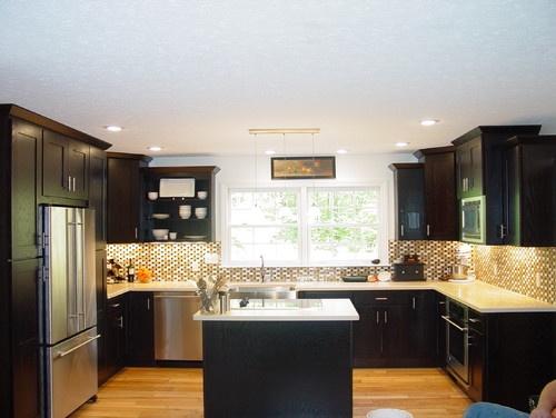 Kitchen  Dark Stain Cabinets  Kitchens  Pinterest
