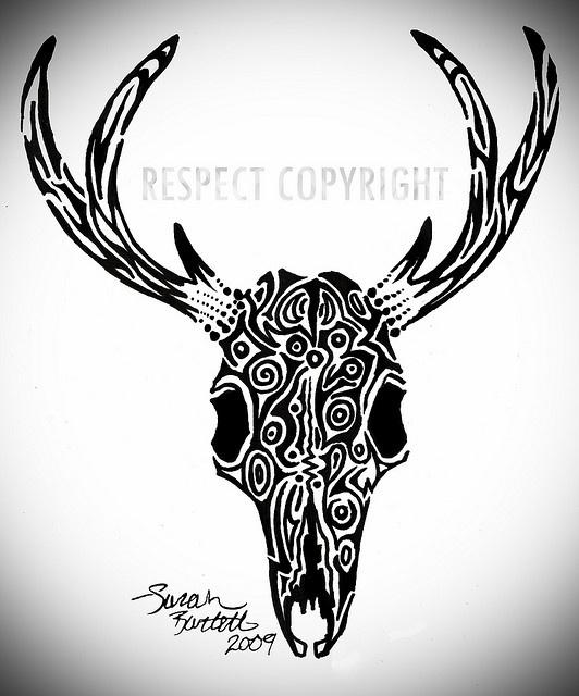 Deer Skull Tattoo Drawing