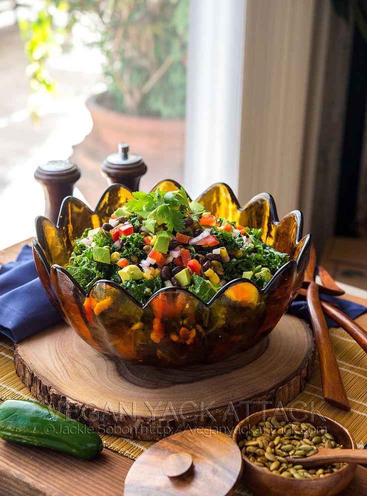 Southwestern Kale Salad with Avocado Cilantro Dressing or Chipotle ...