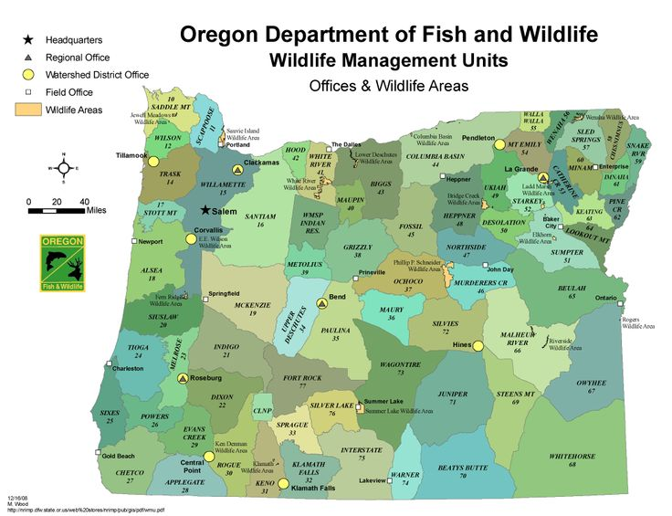 Map of oregon fish and wildlife pictures to pin on for Oregon fish and wildlife