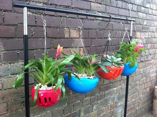 Bike helmets repurposed into hanging planters! via ish and chi