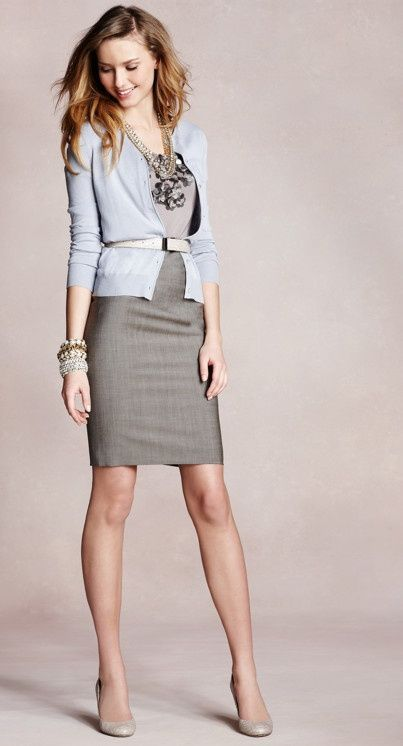 Sheath dress with belted cardigan in gray and pewter, nude shoes and tights - great professional or holiday look