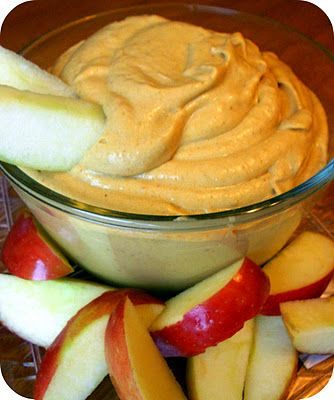 Pumpkin pie dip – 1/2 cup = 100 calories.   Eat it with apple slices or graham c