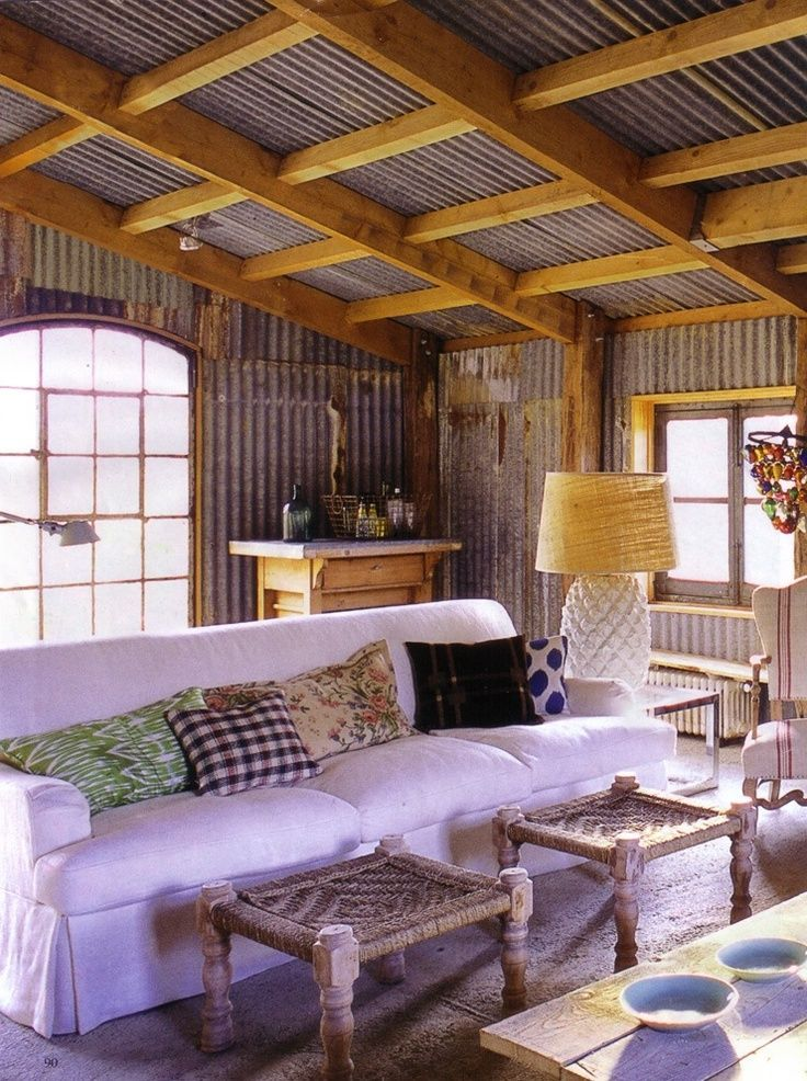 Comfortable my cabin pinterest - Using corrugated metal for interior walls ...