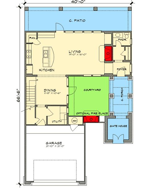 Spanish courtyard home plan Courtyard house plans