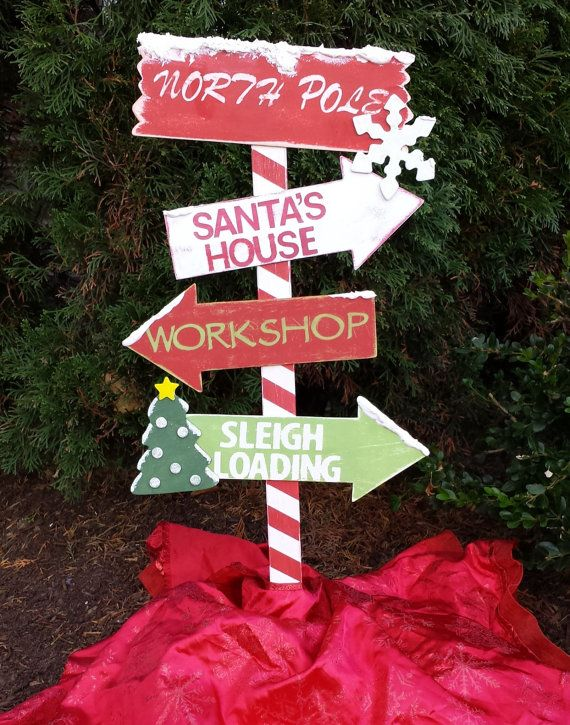 Christmas decor wooden north pole yard stake outdoor for Outdoor christmas signs