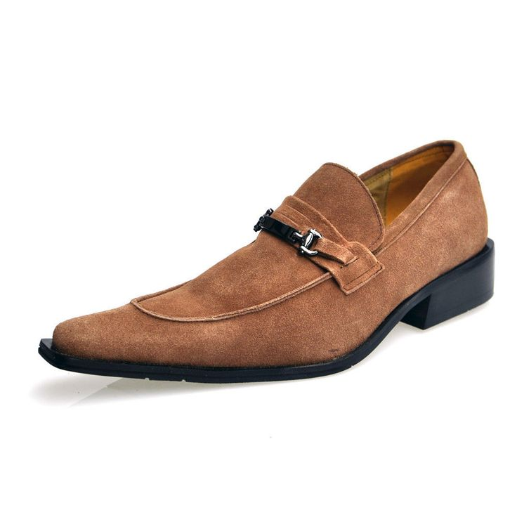 Men's Zota 7011 Suede Pointed Toe Slip on Shoes - Rust and Black $49