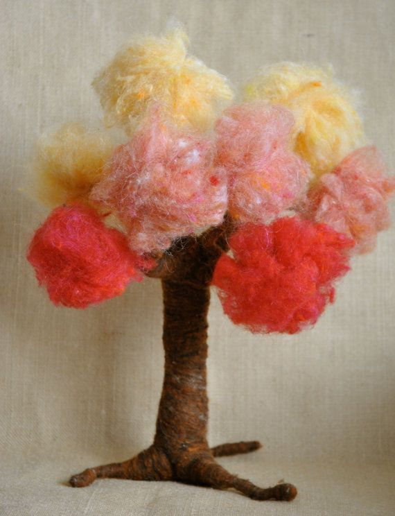 Waldorf inspired needle felted Tree Four Seasons made by MagicWool, $ ...
