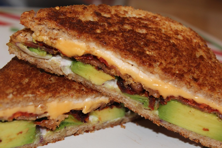Grilled cheese with avocado, bacon, oven dried tomato 'chips' and red...