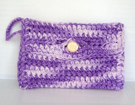 Crochet Wristlet Purse Pattern : Purple Crochet Clutch Purse / Crochet Wristlet Purse / Purple Clutch ...