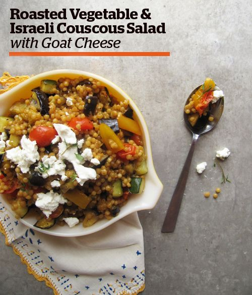 Roasted Vegetable & Israeli Couscous Salad with Goat Cheese