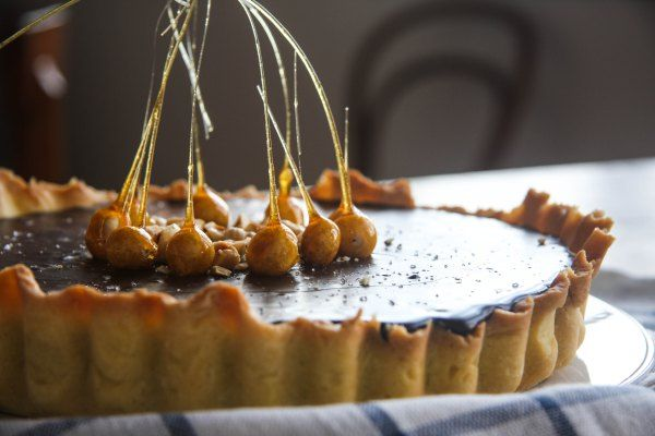 Chocolate and Salted Caramel Tart with Caramel-Dipped Hazelnuts - The ...