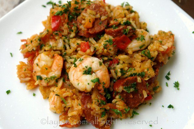 Rice with chorizo and shrimp / Arroz con chorizo y camarones