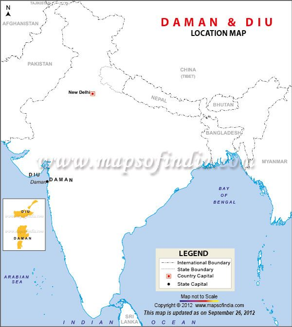 Diu India  city pictures gallery : Location Map of Daman and Diu   India Maps   Pinterest