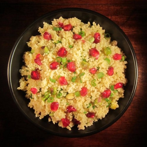 Oh man! Pomegranate and pistachio couscous with orange and lemon